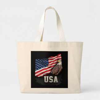 USA Flag with Bald Eagle 4th of July Large Tote Bag