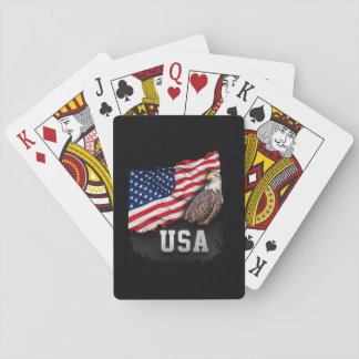 USA Flag with Bald Eagle 4th of July Poker Deck