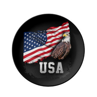 USA Flag with Bald Eagle 4th of July Porcelain Plates