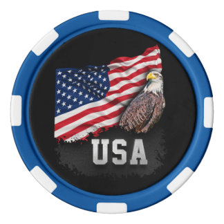 USA Flag with Bald Eagle 4th of July Set Of Poker Chips