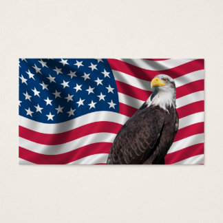 USA Flag with Bald Eagle Business Card