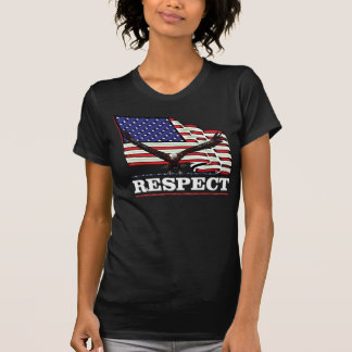 USA Flag with Eagle over Respect chiseled White T-Shirt