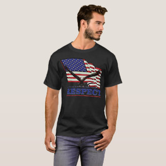 USA Flag with Eagle over Respect in blue T-Shirt
