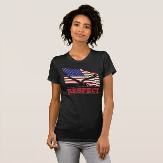 USA Flag with Eagle over Respect in Red T-Shirt