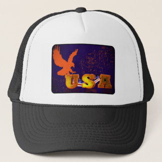 USA Flag with Eagle Trucker Hat