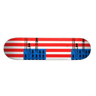 USA Flag with Falling Bombs Skateboard Deck