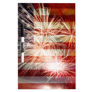 USA Flag with Fireworks Grunge Texture Dry-Erase Whiteboards