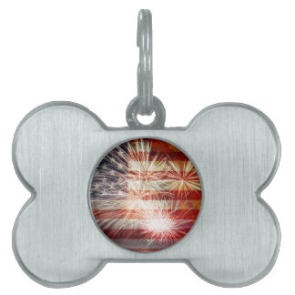 USA Flag with Fireworks Grunge Texture Pet Tag