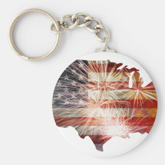 USA Flag with Fireworks Map Grunge Background Basic Round Button Keychain