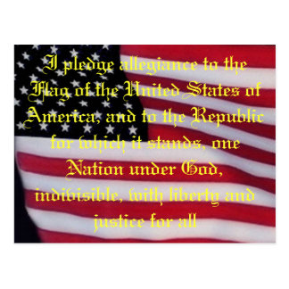 USA flag with pledge postcard