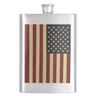 USA FLAG WOOD HIP FLASK