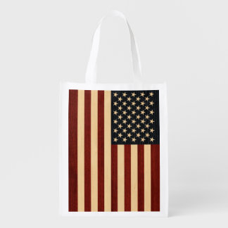 USA FLAG WOOD MARKET TOTES