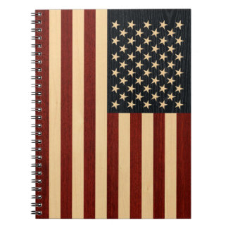 USA FLAG WOOD NOTEBOOKS