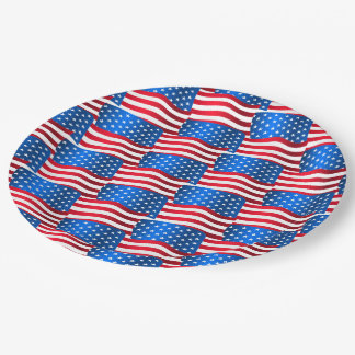 USA flags Paper Plate