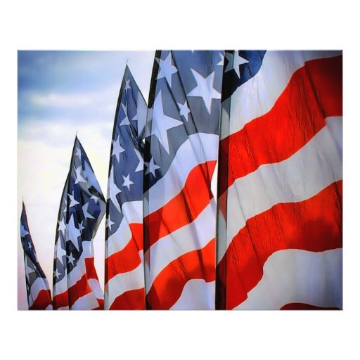 USA Flags Photo Paper Print