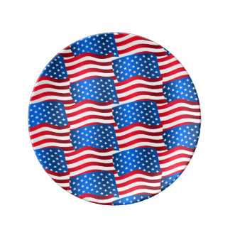 USA flags Plate