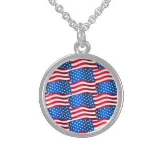 USA flags Sterling Silver Necklace