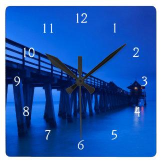 USA, Florida, Gulf Coast, Naples, Naples Pier Square Wall Clock