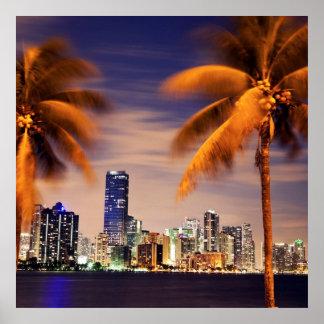 USA, Florida, Miami skyline at dusk Poster