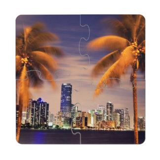 USA, Florida, Miami skyline at dusk Puzzle Coaster