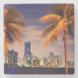 USA, Florida, Miami skyline at dusk Stone Coaster