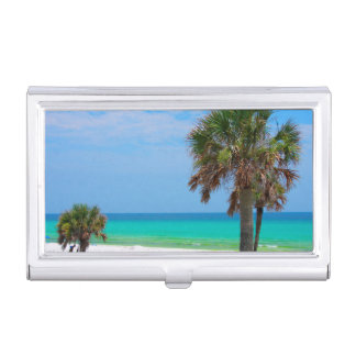 USA, Florida. Palm Trees On Emerald Coast Case For Business Cards