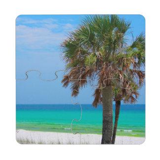 USA, Florida. Palm Trees On Emerald Coast Puzzle Coaster