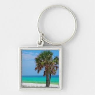 USA, Florida. Palm Trees On Emerald Coast Silver-Colored Square Keychain