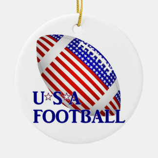 USA Football (1) With Text Ceramic Ornament