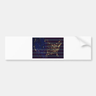 USA From Space At Night and US Flag.jpg Bumper Sticker