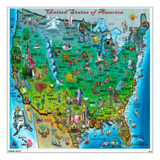 USA Fun Map Wall Decal
