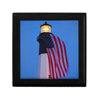 USA, Georgia, Tybee Island, Flag Flying 2 Jewelry Box
