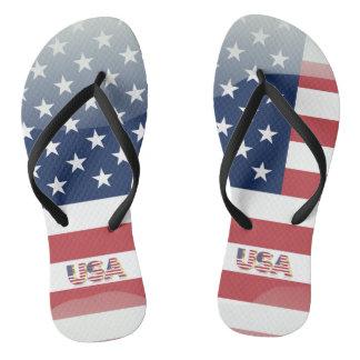 Usa glossy flag flip flops