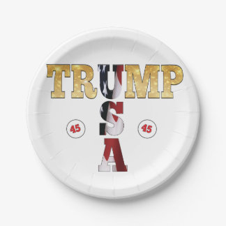 USA Gold Glitter Flag Color President Trump Paper Plate