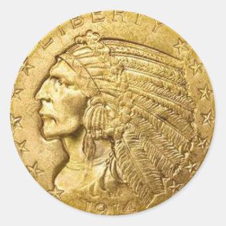 USA Gold Piece Classic Round Sticker