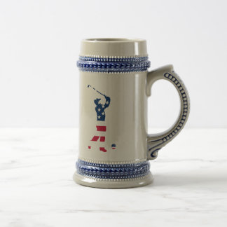 USA golf America flag golfer Beer Stein