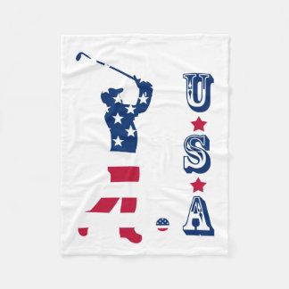 USA golf America flag golfer Fleece Blanket