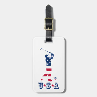 USA golf America flag golfer Luggage Tag