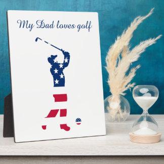 USA golf America flag golfer Plaque