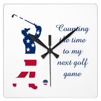 USA golf America flag golfer Square Wall Clock