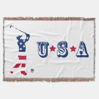 USA golf America flag golfer Throw Blanket