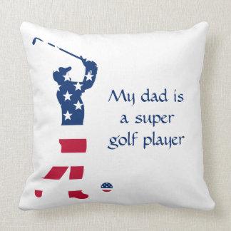 USA golf America flag golfer Throw Pillow