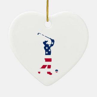 USA golf American flag golfer Ceramic Ornament