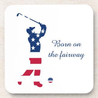 USA golf American flag golfer Coaster