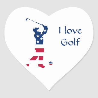 USA golf American flag golfer Heart Sticker