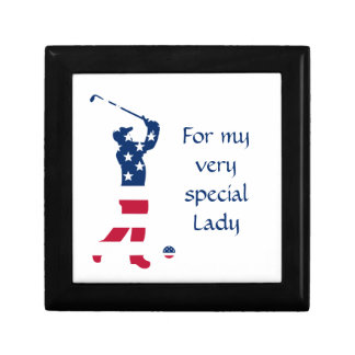 USA golf American flag golfer Keepsake Box