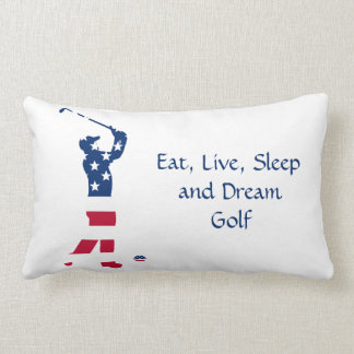 USA golf American flag golfer Lumbar Pillow