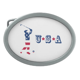 USA golf American flag golfer Oval Belt Buckle