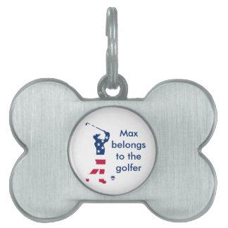 USA golf American flag golfer Pet ID Tag