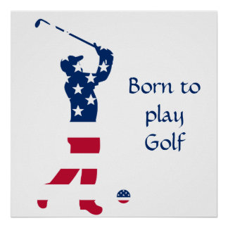 USA golf American flag golfer Poster